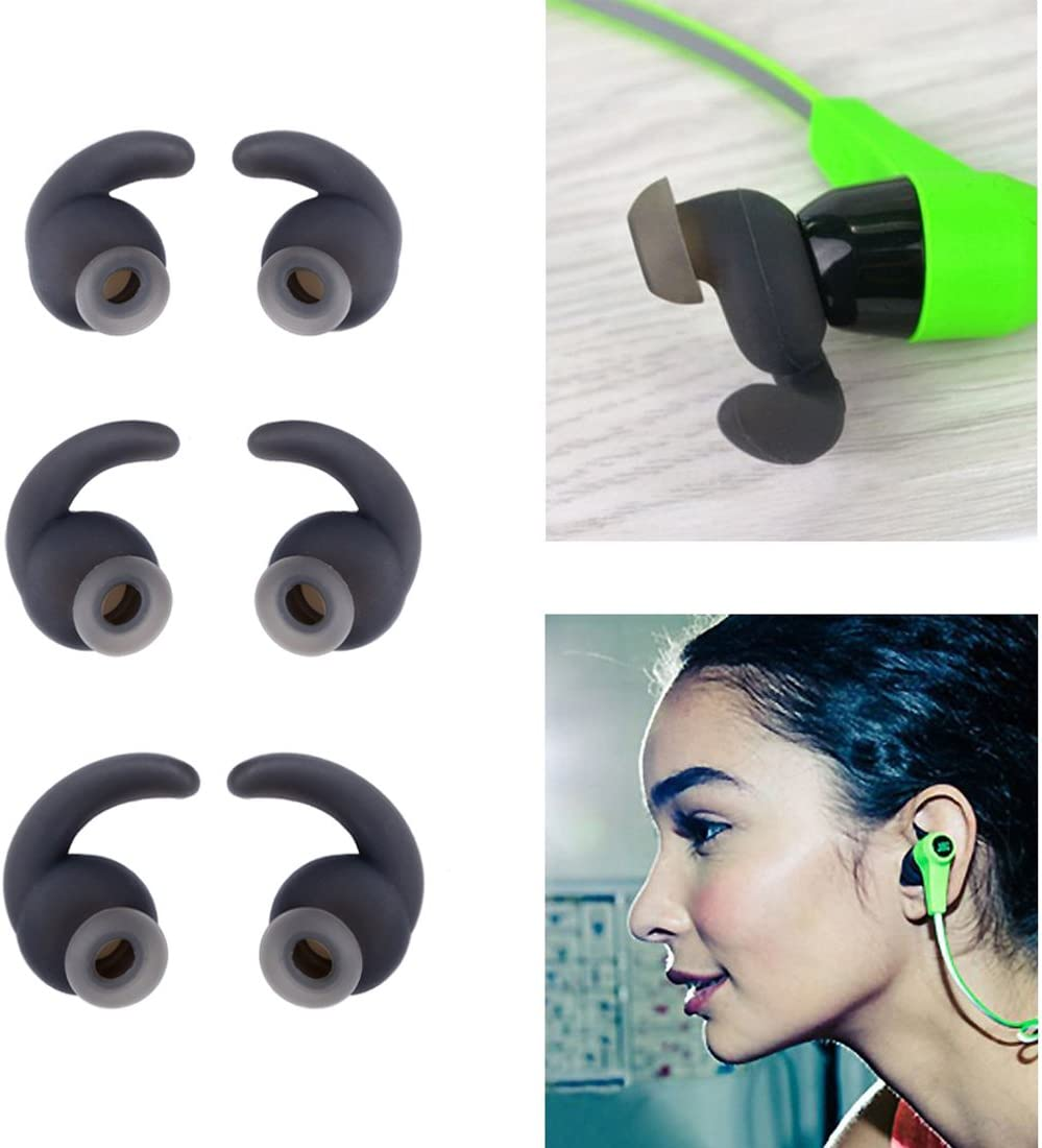 Motanar 12 Pieces for JBL Earbud Covers Replacement Eartip Earbud Hooks for JBL Synchros Reflect BT in-Ear Bluetooth Sports Headphones Grey