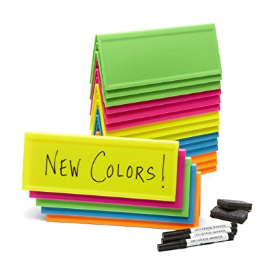 Set of 20 Neon Reusable Name Tents, Plus Mini-erasers, Markers, Tote Bag: Office Products