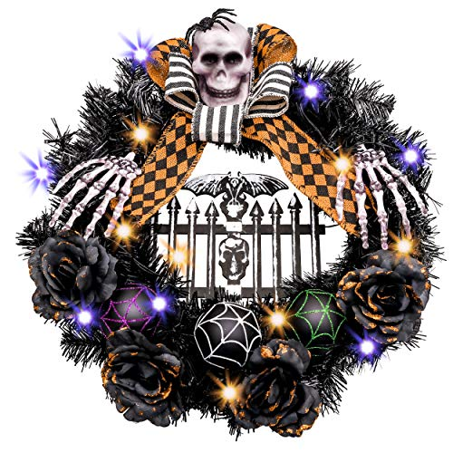 Valery Madelyn Happy Halloween 24 Inch Pre-Lit Halloween Wreath for Front Door with Skull and Spider Decorations kit, Including Halloween Lights, Burlap Bow and Black ()