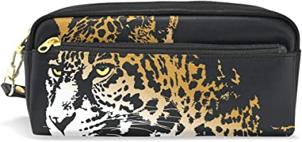 Estuche para lápices con diseño de jaguar de animales, gran capacidad, con doble cremallera duradera para la oficina escolar, estuche para lápices y cosméticos: Amazon.es: Oficina y papelería