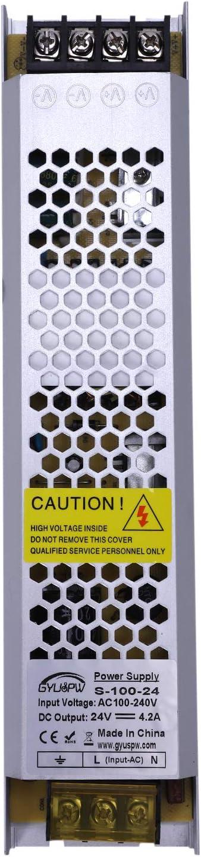 CUHAWUDBA Transformador electrónico de controlador de fuente de alimentación LED ultradelgado DC 24V 100W para tira de luz