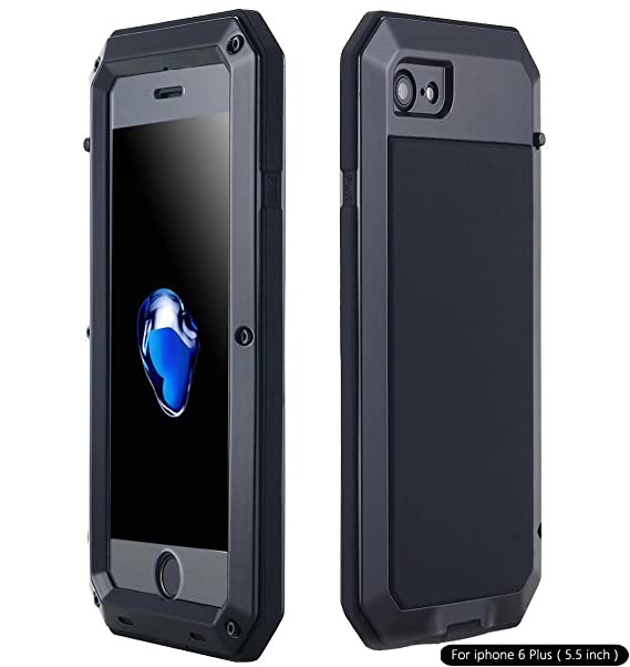 separation shoes 25b72 f2a63 iPhone 6S Plus Case, Shockproof Dustproof Waterproof Heavy Duty Gorilla  Glass Aluminum Alloy Metal Military Protector Skin Bumper Cover Shell Case  for ...