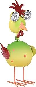 "Outdoor Solar Animal Lights Yellow-Green Bird Figurine with LED Lights 12.5""Garden Statue Chick Metal Garden Art Decoration for Patio Yard Art Decor Lawn Ornaments (Chick)"