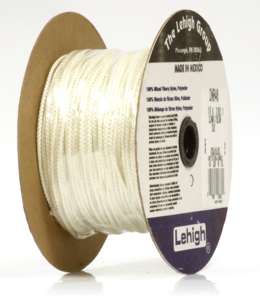 Lehigh DNR46 1//8-Inch by 600-Feet Nylon Diamond Braid Rope White Crawford-Lehigh Group