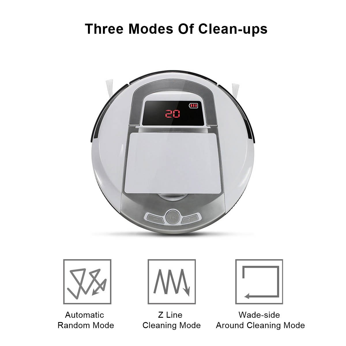 Robotic Vacuum Cleaner, Rechargeable Robotic Vacuum with Strong Suction and HEPA Double Filter, Anti-Cliff and Anti-Bump Sensor Robot for Pet Hair, Fur, Allergens, Thin Carpet, Hardwood and Tile Floor by FORTUNE DRAGON (Image #3)
