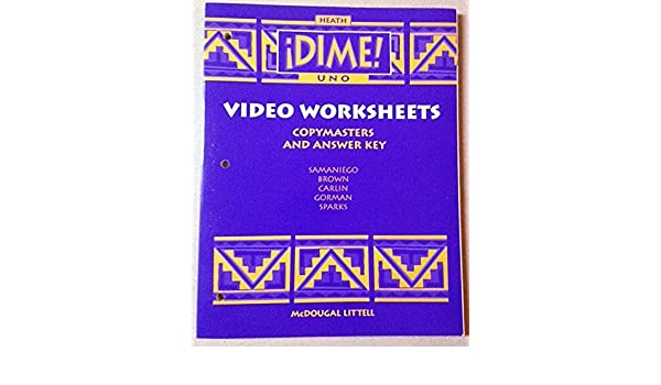 Video Worksheets Copymasters and Answer Key (Â¡Dime! Uno ...