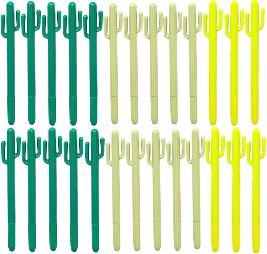 Maydahui 40 bolígrafos de punta redonda con forma de cactus, tinta de gel negra, bolígrafos de escritura para niños de la escuela: Amazon.es: Oficina y papelería