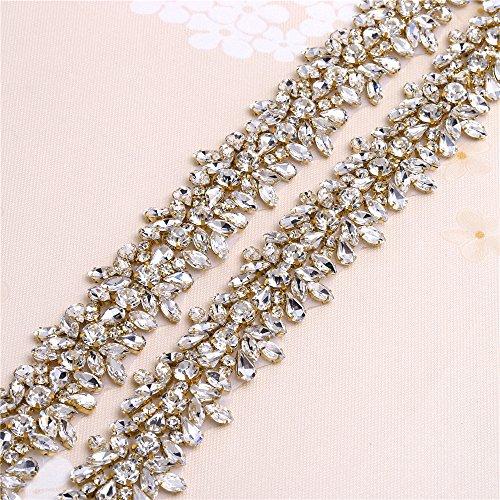 Luxury Bling Crystal Rhinestone Applique Trims 1 yard for Bridal Belt- Gold-1 (Thin Gold Trim)