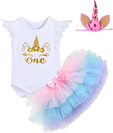 Toddler Baby Girls First Birthday Floral Romper Tutu Skirt Headband 3pcs Outfit