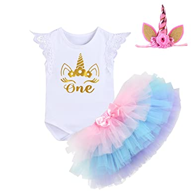 cd82468be92 Amazon.com  Unicorn Outfits Baby Girl Romper + Ruffle Tutu Skirt + Headband  First Birthday Party Clothes 3PCS Set  Clothing