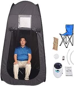 Portable Sauna Steam Kits Home Indoor Spa Sauna Cabin Intelligent Remote Control 2L Fumigation Instrument Remove Toxin and Loss Weight (Color : Black)