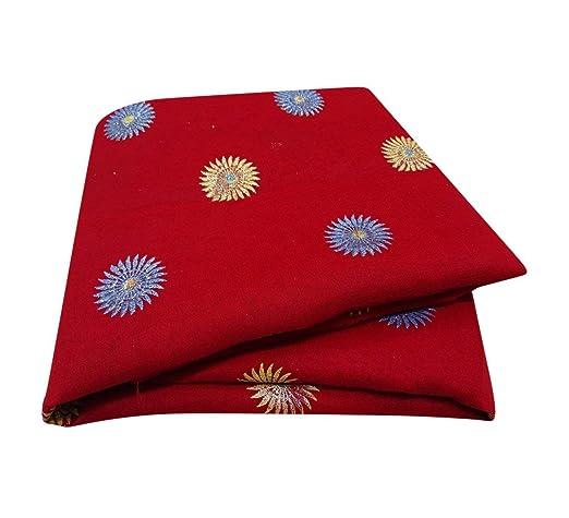 PEEGLI Indio Étnico Vintage Sari Rojo Mujer Envolver Vestido Georgette Mezcla Tejido Tela Pintado A Mano
