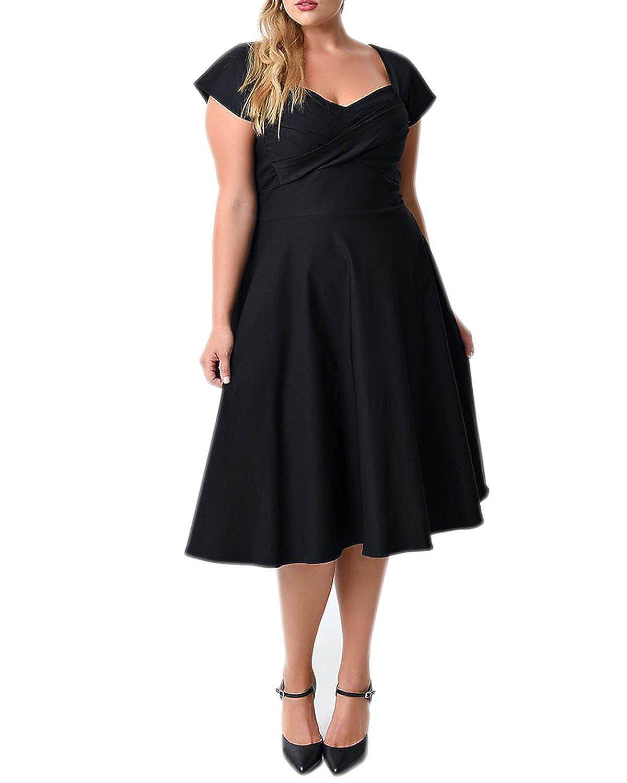 558a4f4187 BIUBIU Women's 50s Plus Size Vintage Swing Dress Bridesmaid Cocktail UK 16- 26: Amazon.co.uk: Clothing