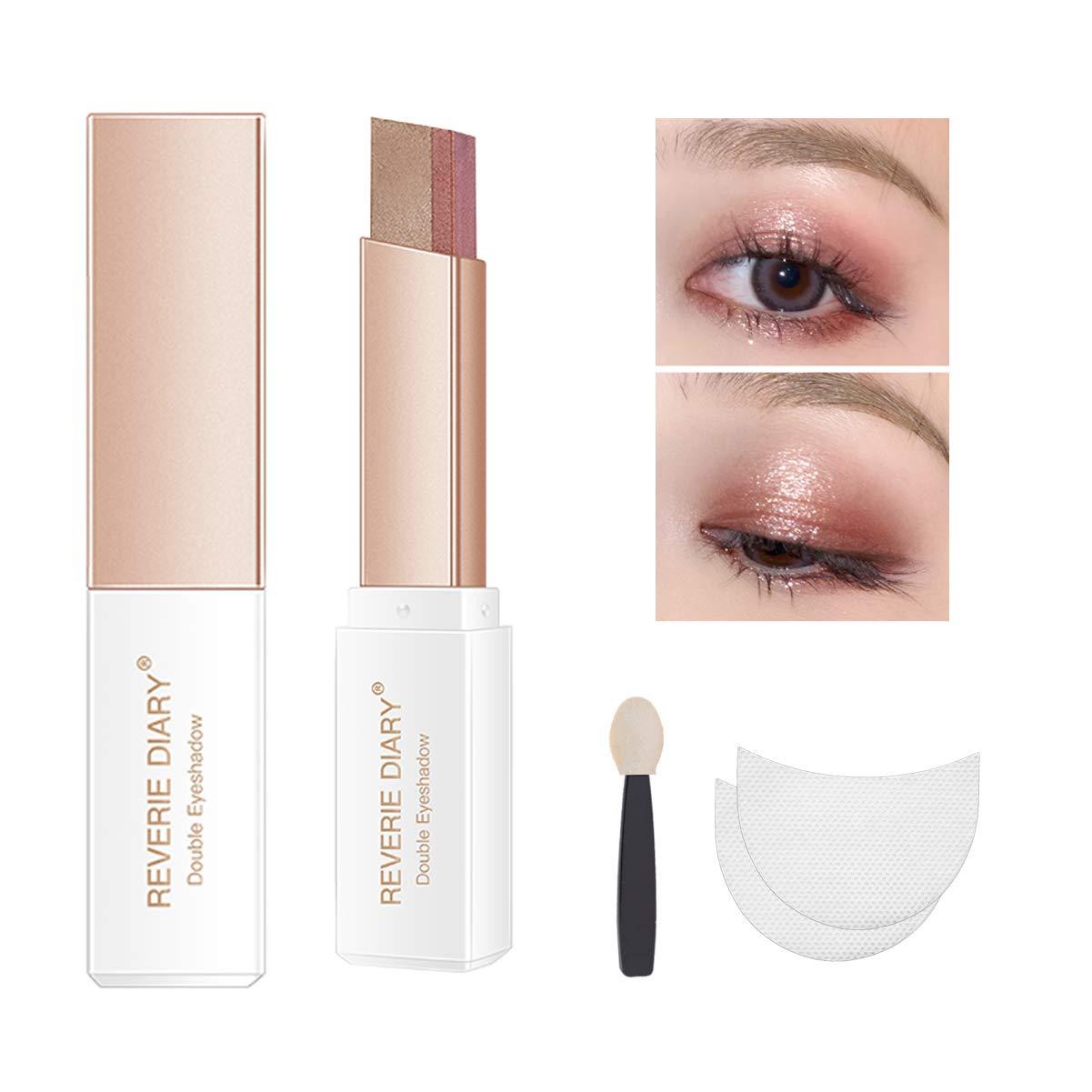 Three-piece eyeshadow stick eyeshadow prush eyeshadow sticker, eyeshadow stick two-color gradient glitter eye shadow pen rotating design, simple makeup, waterproof and not Blooming(RedBrown)