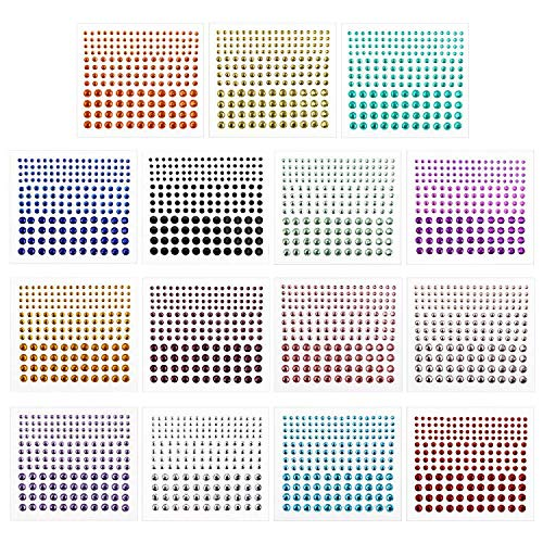 (Rhinestone Stickers,Self-Adhesive Rhinestones,DIY Self Adhesive Gem Rhinestone Embellishment Stickers,Ideal for Face,Body,Carnival,Crafts&Embellishments (15 Sheets))