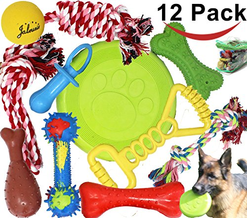 Jalousie12 Pack Dog Chew Toy Natural Rubber chew toy for interactive play toy ball rope rubber value set for small medium large breed dog mutt puppy NOT for aggressive chewer