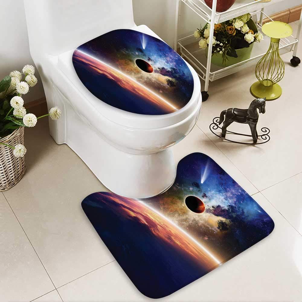 Muyindo Toilet carpet floor mat ComApproaches PlanScientific Realities in Solar System World 2 Piece Shower Mat set