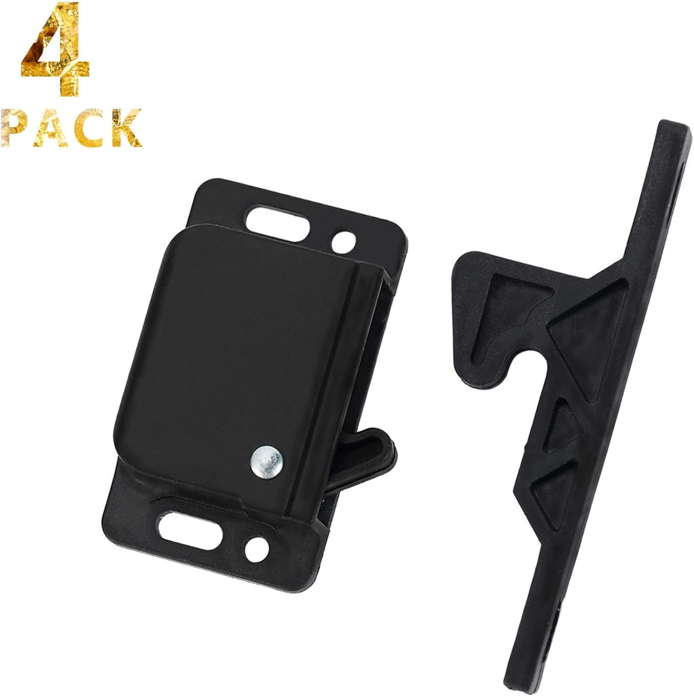 4 Pack Cabinet Door Latch/RV Drawer Latch Holder, 8 LB Pull Force Latch for Home/Office/Cabinet Doors, Push Catch Latch for RV, Camper, Motor, Home, Trailer with Mounting Screws, OEM Replacement