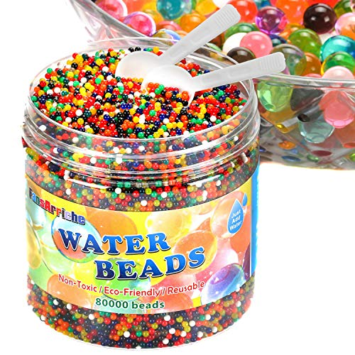 FansArriche Water Beads for kids 80000 Beads and 2 Counting Scoops for Sensory Play