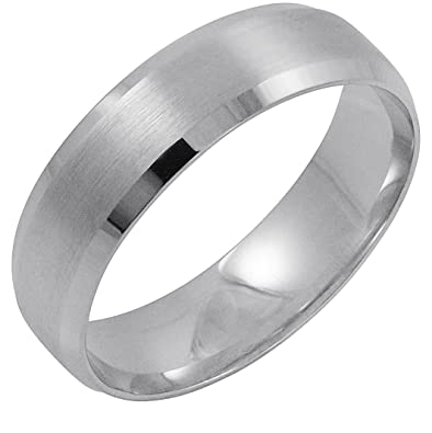 a5bd263a115a7 Men's 14K White Gold 6MM Comfort Fit Beveled Edge Wedding Band (Available  Ring Sizes 8-12 1/2)