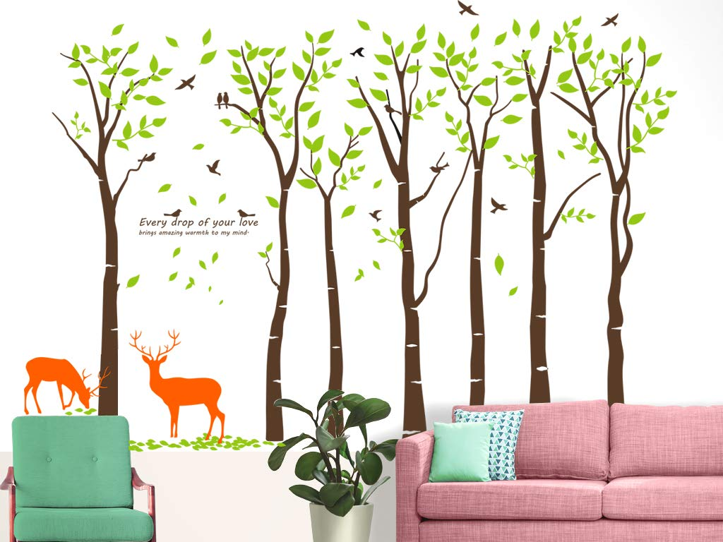 Mix Decor Tree Wall Decal - 7 Trees Wall Sticker Large Family Forest for Livingroom Kid Baby Nursery Room Deer Wooland Decoration Party Birthday Gift,118x83 Inch Coffee + Green by Mix Decor