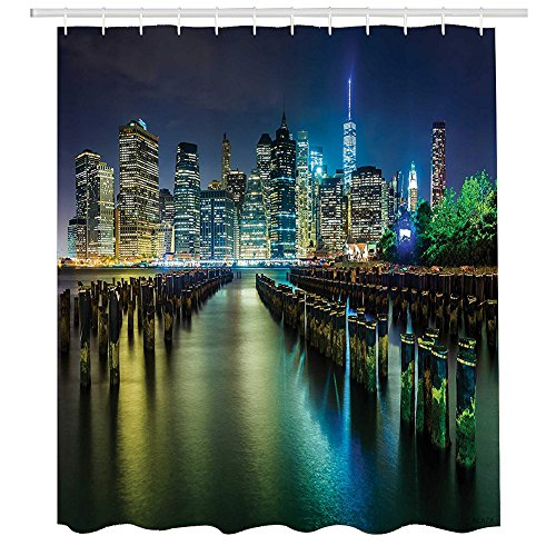 New York Shower Curtain,Pier Pilings and Manhattan Skyline at Night Downtown Urban East River,Fabric Bathroom Decor Set with Hooks,72 by 72 inches,Dark Blue Green Yellow