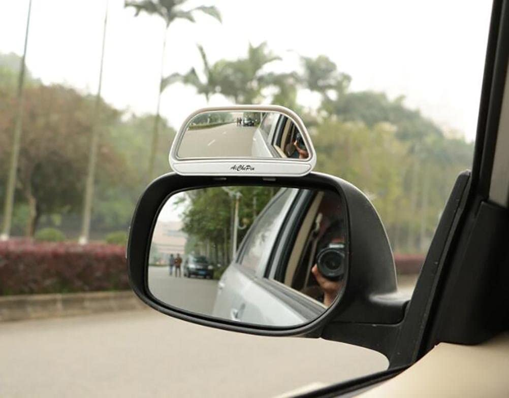 DOGIGIE Blind Spot Mirror,Reversing Auxiliary Mirror,Rectangle Wide Adjustable Angle Convex Clip On Half Oval Rear View Conter Blind Spot Angle Auxiliary Mirrors for Car,2 Pack