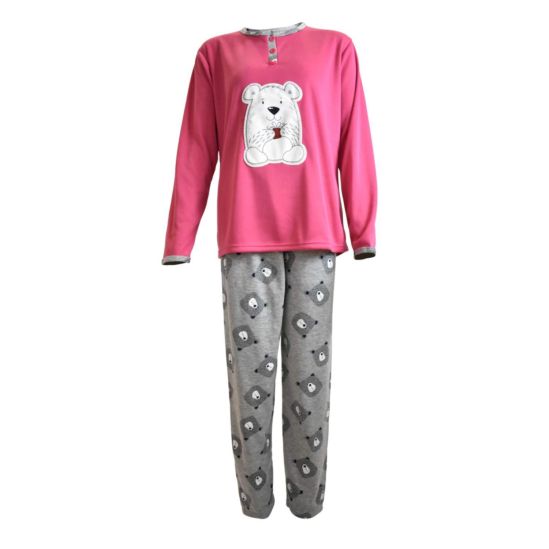 Pijama de Mujer de Algod/ón Calido de Conjuntos Largo para el Invierno con Dibujo de Bordado y Pantalones con Estampado Mini kitten