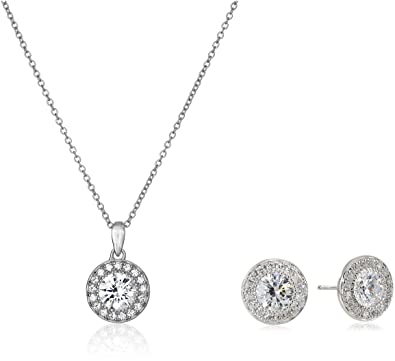 1d0506c37ad5 Amazon.com  Platinum Plated Sterling Silver Swarovski Zirconia Round-Cut  Halo Pendant Necklace and Stud Earrings Jewelry Set  Jewelry
