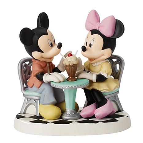 Precious Moments diseño de Mickey y Minnie Mouse compartir helado flotador figura decorativa