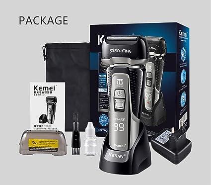 Kemei1531 Sistema de corte de cuchilla triple Máquina de afeitar eléctrica completamente lavable Pantalla LED inteligente