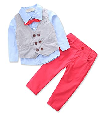 7881805b322b AmzBarley Baby Boys Gentleman Outfits Suits Kids Long Sleeve Dress Shirt  Pants Vest Tie Clothing Sets Childs Birthday Evening Holiday Party Outfit   ...