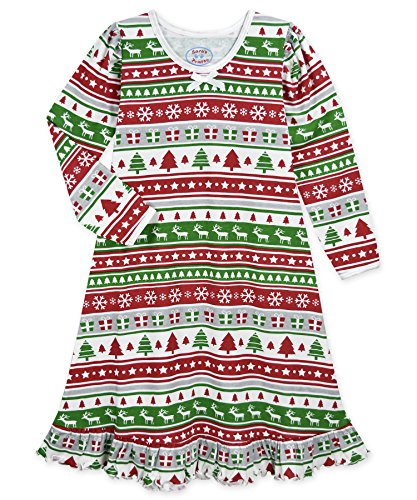 Sara's Prints Girls' Little' Whirl and Twirl Long Sleeve Nightgown, fair isle Stripe, 3