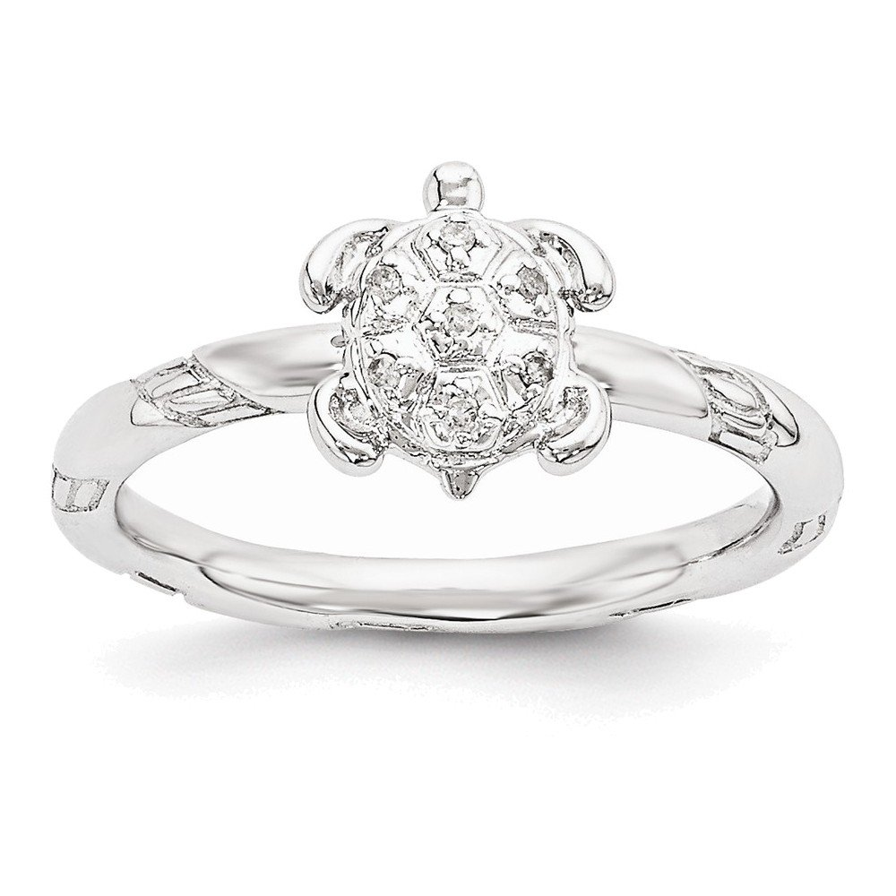 Sterling Silver Stackable Expressions Diamond Turtle Ring Italian Charms Bracelets INC