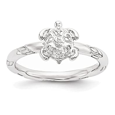 Amazon Com Sterling Silver Stackable Expressions Diamond Turtle