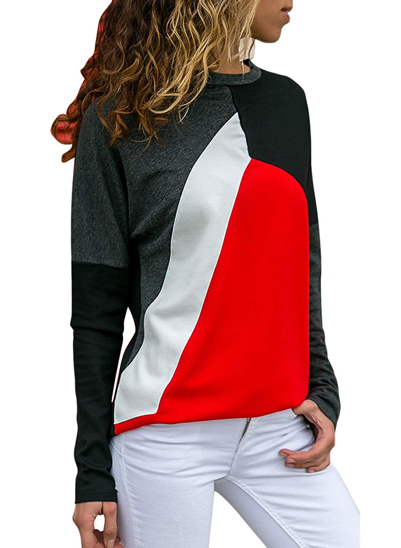 Sidefeel Women Casual Long Sleeve Crewneck Sweatshirt Color Block Pullover Top HX251451