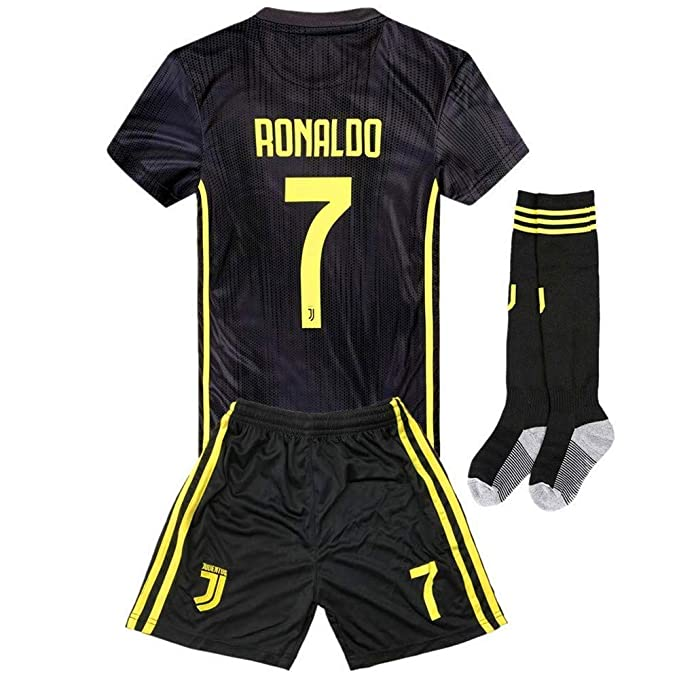 big sale 22608 1ece8 seryhr-tx Ronaldo 7 Juventus Away Kids Socce Jersey 2018/2019  Season.Matching Shorts,Socks. Black
