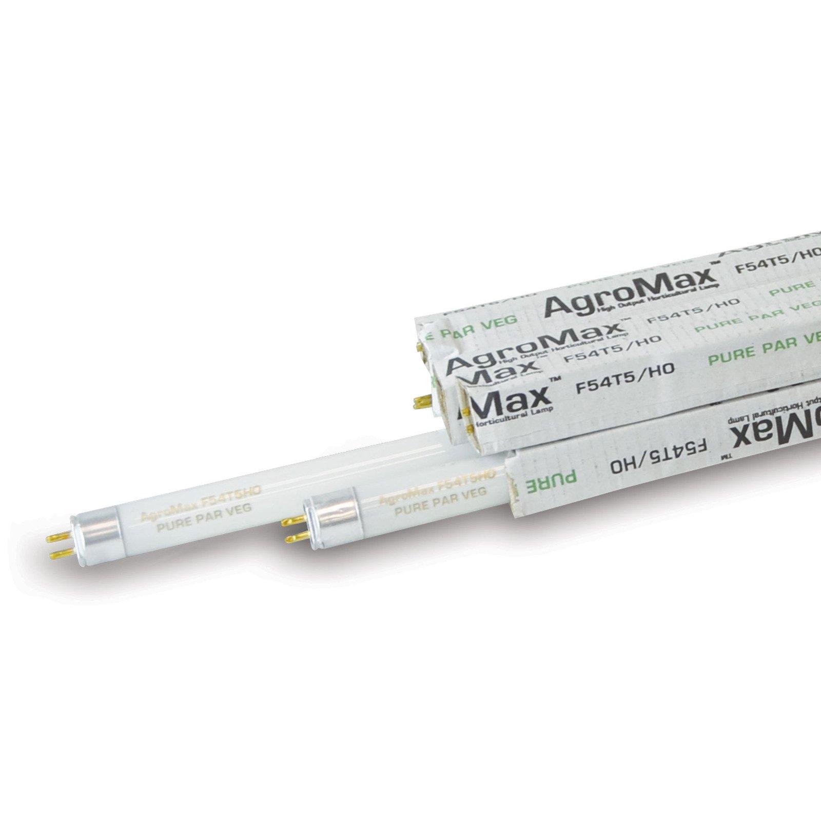 8-Pack AgroMax 4 Foot (45.75'') Pure PAR Veg T5 Fluorescent Grow Light Bulbs - (8) F54T5HO Bulbs