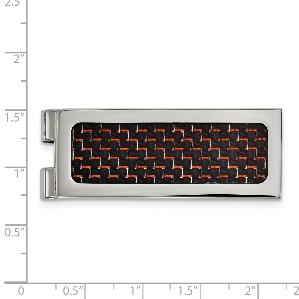 Stainless Steel Polished with Black and Red Carbon Fiber Inlay Money Clip 19.9mm x 53.7mm