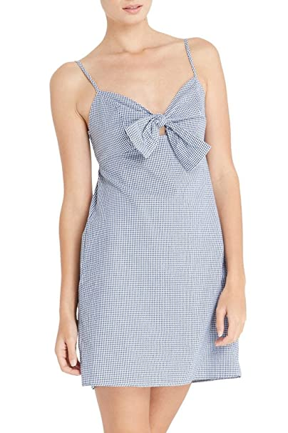 3f5f7fd13e76 Poshsquare Women's Gingham Front Bow Tie Cotton Straps Cami Mini Dress Navy  M