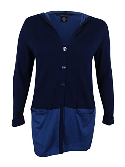 7c7b9b182ce Image Unavailable. Image not available for. Color  Style   Co. Plus Size  Sweater 2X Color Blocked Hooded Cardigan Blue