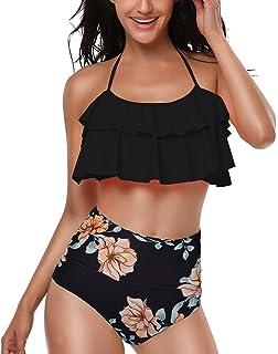 910fe26aee9 Fantastic Zone Women s Two Piece Flounce High Waisted Bikini Set Halter  Neck Swimsuit Swimwear