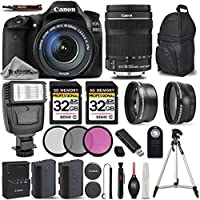 Canon EOS 80D Wi-Fi Full HD 1080P Digital SLR Camera + Canon 18-135mm IS STM Lens + Flash + 0.43x Wide Angle Lens + 2.2x Telephoto Lens All Original Accessories Included - International Version