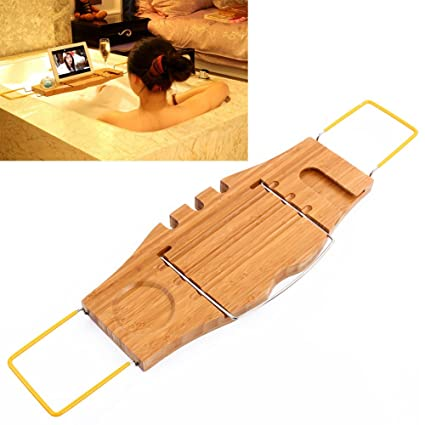 Amazon.com: Bamboo Bath Caddy Bathtub Reading Stand Rack Adjustable ...