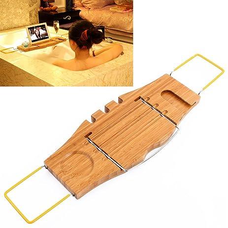 Amazon.com: Bamboo Bath Caddy Bathtub Reading Stand Rack Adjustable ...