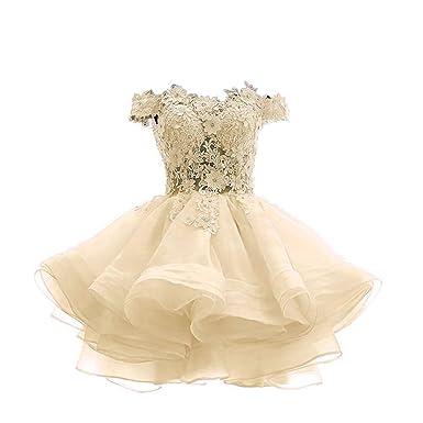 3964b21a54a Nicefashion Women's Elegant Off The Shoulder Lace Applique Short Beach Wedding  Dress for Bride 2019 Champagne