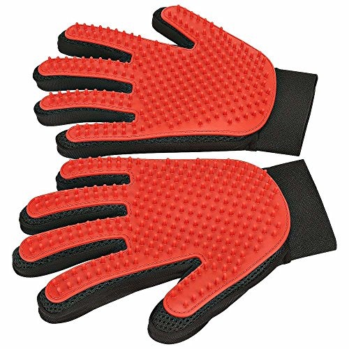 Pet Grooming Glove - Gentle Deshedding Glove, Designed For Five Fingers to Enhance Massage Your Loving Pet - Suitable For Pets With Long & Short Fur (One Pair, Red Color) by Grandpa's Love