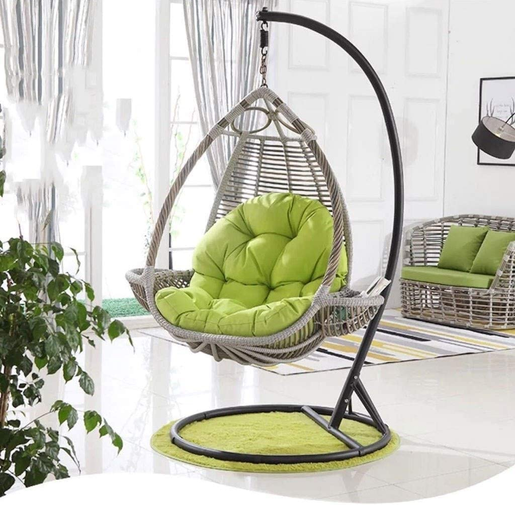 Zhas Rattan Swing Chair Hanging Garden Patio Indoor Outdoor Egg Chair With Stand Cushion Garden Color Gray Garden Outdoors Hammocks Swing Chairs Accessories