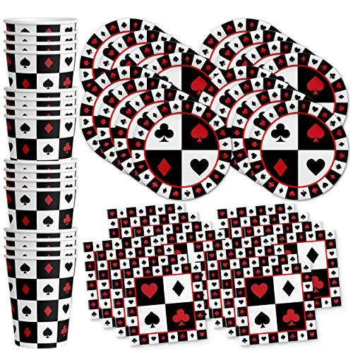 Casino Card Night Birthday Party Supplies Set Plates Napkins Cups Tableware Kit for 16 -