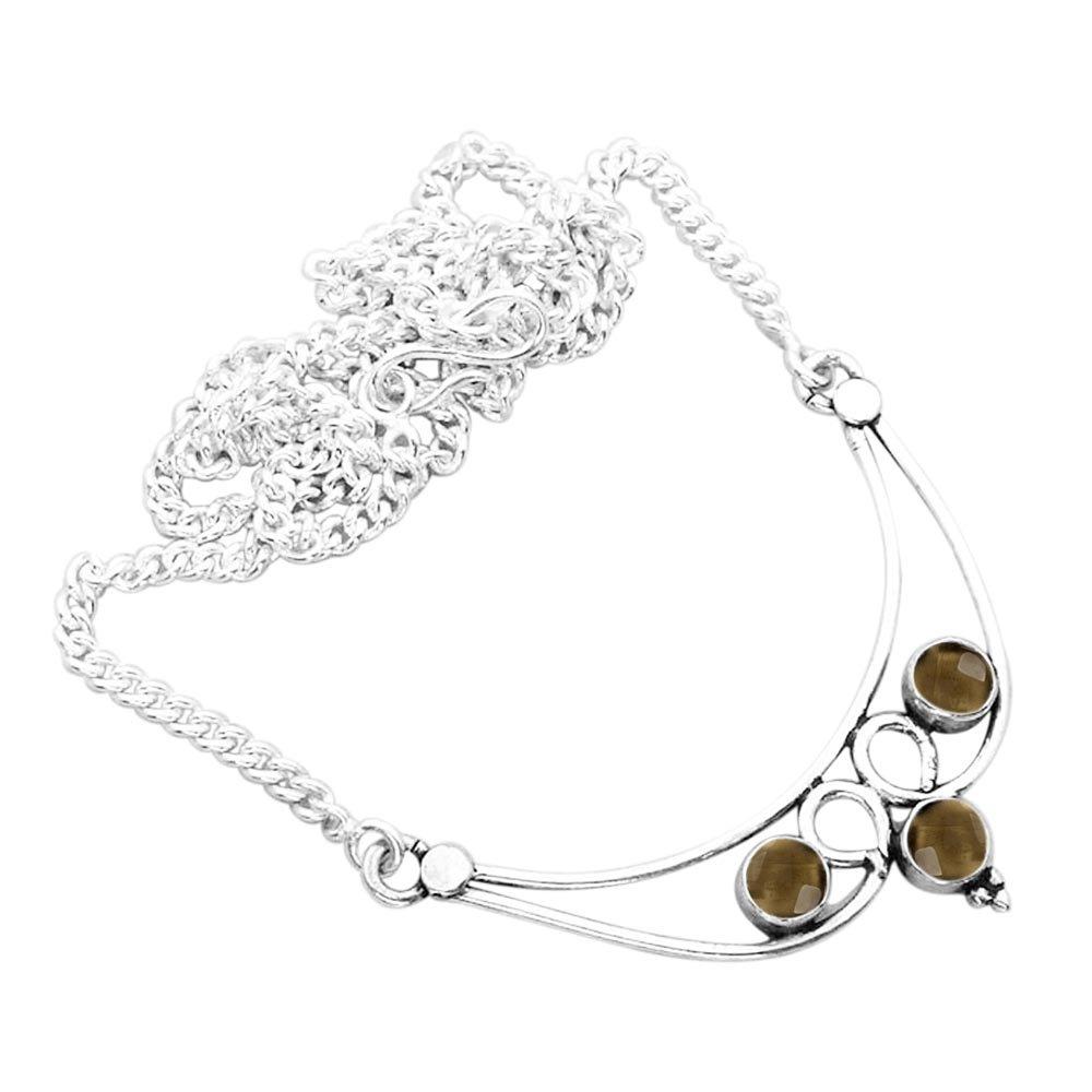 Genuine Smoky Quartz Necklace 925 Silver Plated 2.15ct